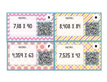 5th Grade Long Multiplication QR Task Cards