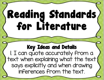5th Grade Louisiana NEW! ELA State Standards I Can Statements