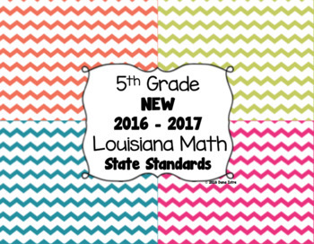 5th Grade Louisiana NEW! Math State Standards I Can Statements