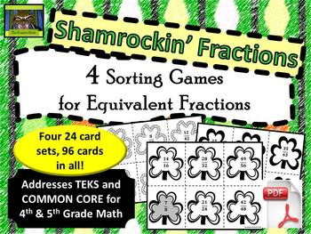 5th Grade Shamrock Themed Equivalent Fractions Sort (TEKS, Common Core)***PDF