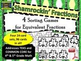 5th Grade Shamrock Themed Equivalent Fractions Sort (TEKS, Common Core)***PDF