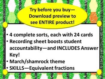 5th Grade Shamrock Themed Equivalent Fractions Sort (TEKS, Common Core)***ZIP