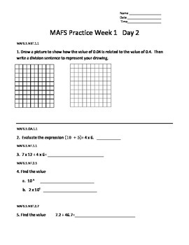5th Grade MAFS Daily Practice