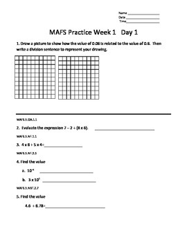 5th Grade MAFS Daily Practice Week 1 - 5