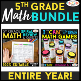 5th Grade MATH BUNDLE | Games, Spiral Review, & Weekly Qui