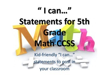 "5th Grade MATH CCSS ""I Can"" Statements {Editable PowerPoint Included}"