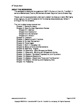 """A+ Math"" 5th Grade Math Workbook (Worksheets, Exams and Answer Keys)"