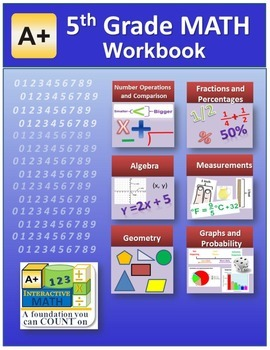 """A+ Math"" 5th Grade Math Workbook (Worksheets, Exams and A"