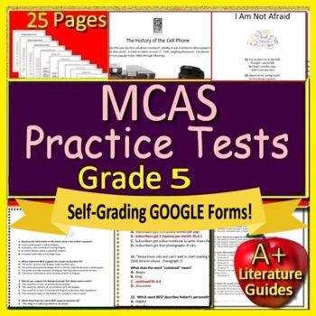 5th Grade MCAS Reading ELA Test Prep Practice Tests Bundle for Massachusetts