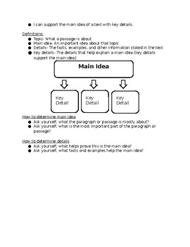 5th Grade Main Idea and Details 1 Page Notes