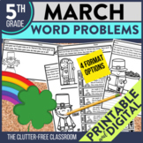 5th Grade March Word Problems printable and digital math a