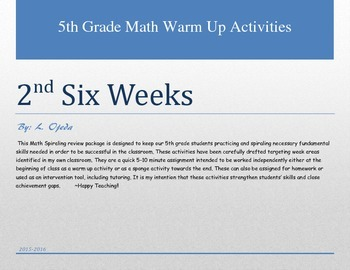5th Grade Math 2nd Six Weeks Warm Up Activities