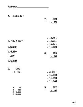 5th Grade Math 3 by 2 digit multiplication