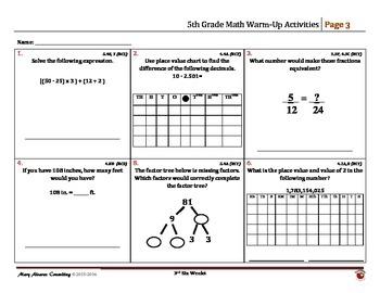 5th Grade Math 3rd Six Weeks Warm-Up Activities
