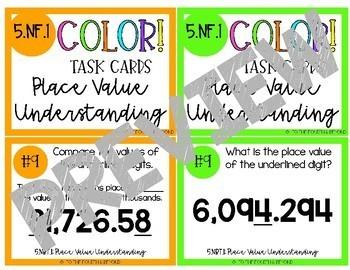 5th Grade Math 5.NBT.1 COLOR! Task Cards Place Value Understanding (Jenga)