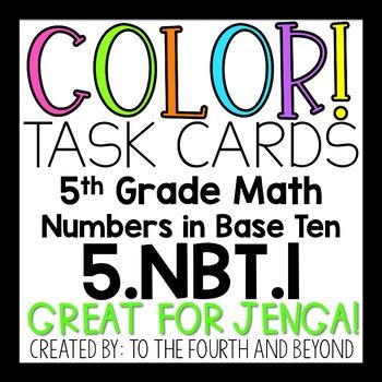 5th Grade Math 5NBT1 COLOR Task Cards Decimal Place Value for Jenga