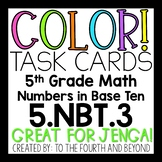 5th Grade Math 5NBT3 COLOR Task Cards Comparing Decimals Number Forms for Jenga