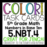 5th Grade Math 5NBT4 COLOR Task Cards Rounding Decimals for Jenga