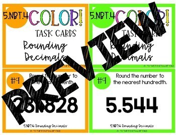 5th Grade Math 5NBT4 COLOR Task Cards Rounding Decimals for Jenga