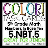 5th Grade Math 5.NBT.5 COLOR! Task Cards Multi-Digit Multi
