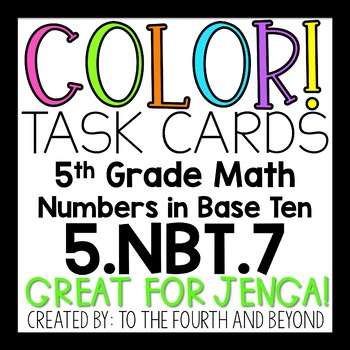 5th Grade Math 5NBT7 COLOR Task Cards Decimal Operations for Jenga