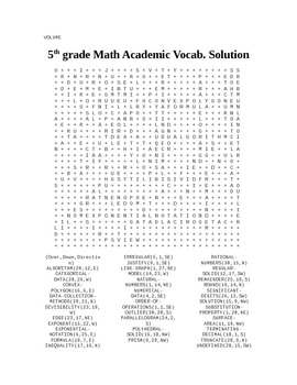 5th Grade Math Academic Vocabulary Word Search