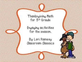 5th Grade Math Activity Packet - Thanksgiving