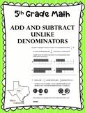 5th Grade Math Add and Subtract Unequal Denominators