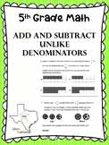 5th grade math Add and Subtract Unequal Denominators