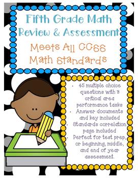 5th Grade Math Assessment - ALL CCSS Standards Test Prep Review