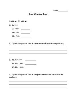5th Grade Math Assessment (Powers of 10, Multiplying Whole Numbers and Decimals)