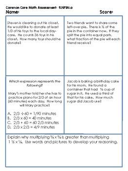 5th Grade Common Core Math Assessments - Fraction Bundle