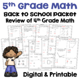 5th Grade Back to School Math Activities - Review of 4th Grade Math