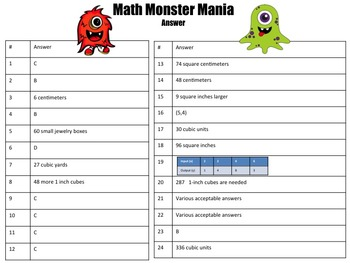 5th Grade Math Board Game- Math Monster Mania  (STAAR Aligned)
