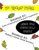 5th Grade Math Breakout / Scavenger Hunt