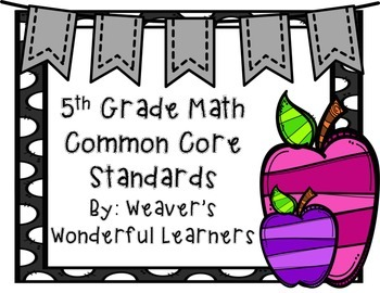 5th Grade Math CCRS Display Cards