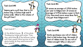 5th Grade Math CCSS Aligned Spiral Review - Winter Themed Task Cards