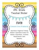5th Grade Math CCSS Binder Covers