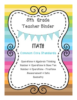 5th Grade Math CCSS Binder Covers