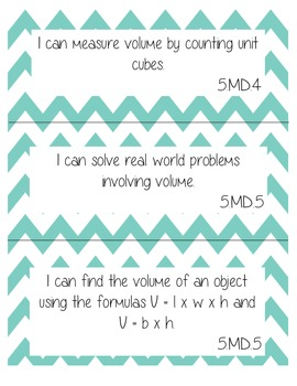 "5th Grade Math CCSS ""I Can"" Statement Posters - Chevron"