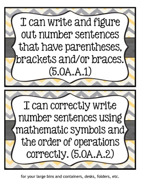 "5th Grade Math CCSS ""I Can"" Statements"