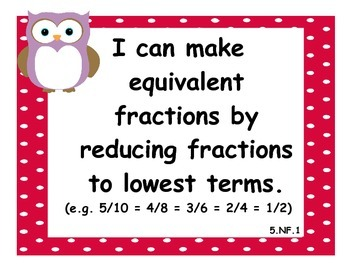 5th Grade Math CCSS I Can Statements - Owl Theme