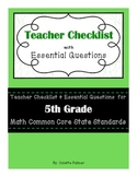 5th Grade Math CCSS- Teacher Checklist and Essential Questions