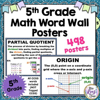 5th Grade Math Word Wall  498 Definitions and More! (Not Tagged CCSS)