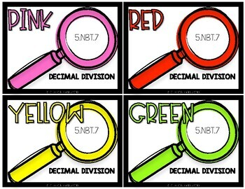 5th Grade Math COLOR Task Cards 5NBT7 Decimal Division for Jenga