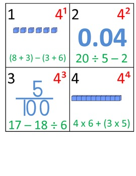 5th Grade Math Calendar - Decimals, Order of Operations, Exponents