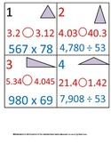 5th Grade Math Calendar - Quad, Triangles, Decimals, Multiplication, Division