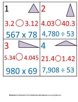 5th Grade Math Calendar - Quad, Triangles, Decimals, Multi