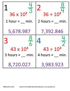 5th Grade Math Calendar - Time, Patterns in Zeros, Decompo