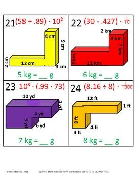 5th Grade Math Calendar - Volume, Weight, Order of Operations